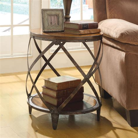 wood and metal end tables oak brown wood metal drum shape contemporary accent