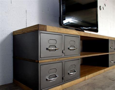 ouverture cuisine sur sejour industriel meuble tv métal et bois tiroirs