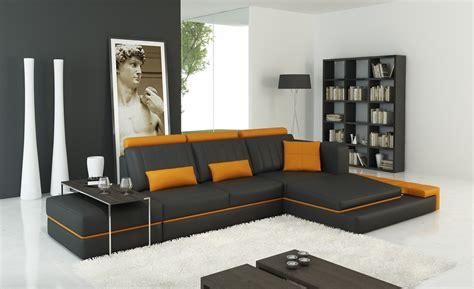 divani casa  modern dark grey  orange bonded leather sectional sofa