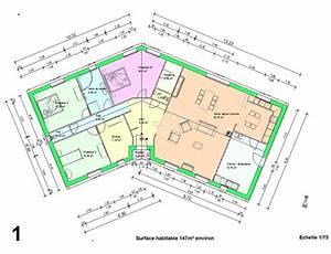 exemple plan maison en v With plan maison en v plain pied gratuit