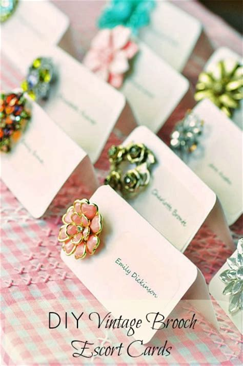 17 diy wedding place cards and place card diy vintage brooch cards