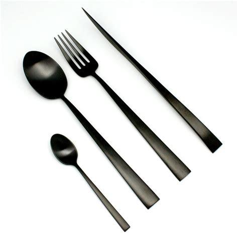 set couteaux de cuisine couverts duna en inox noir brossé de la marque cutipol