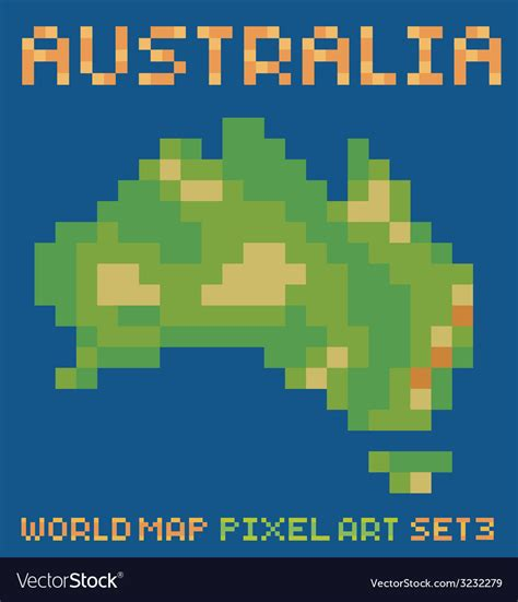 pixel style of continent australia physical vector