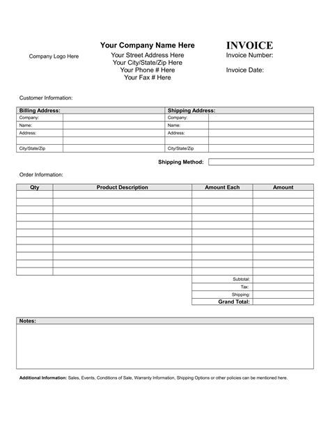 blank invoice templates ai psd word examples