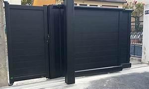 Portail 3 Metres : portail telescopique pose devant portillon gache ~ Premium-room.com Idées de Décoration