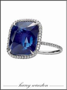 Harry Winston cushion cut sapphire engagement ring ...