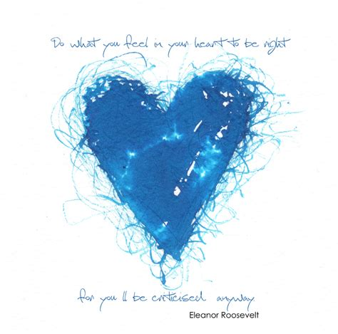 brave heart love eleanor roosevelt quote blue illustration