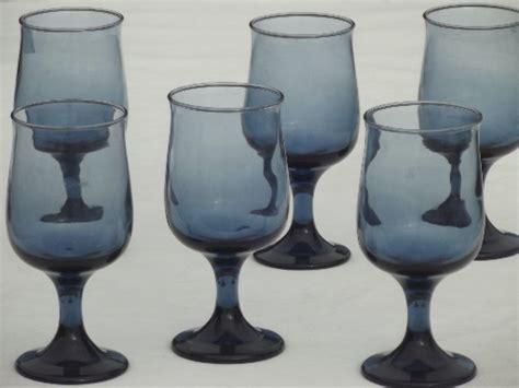 retro smoke blue libbey tulip shape wine glasses set
