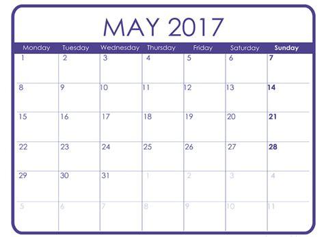 printable calendar template may 2017 calendar printable