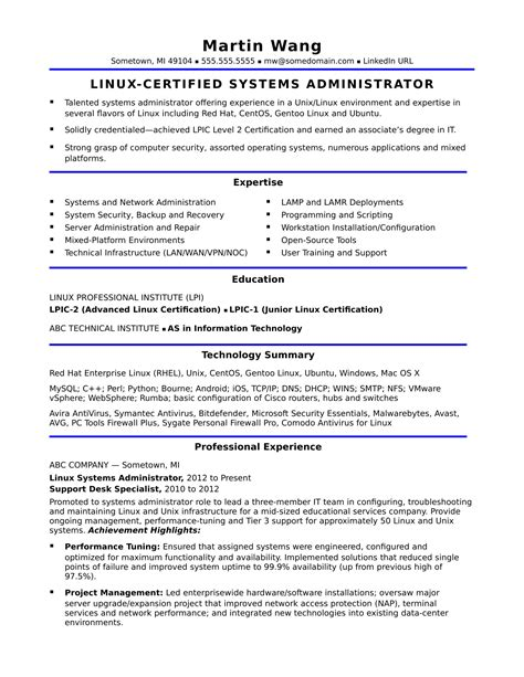 system administrator technical skills resume 28 images