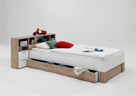 Bett 90 X 200 Cm Jugendbett Kinderbett Eiche  Weiss Woody