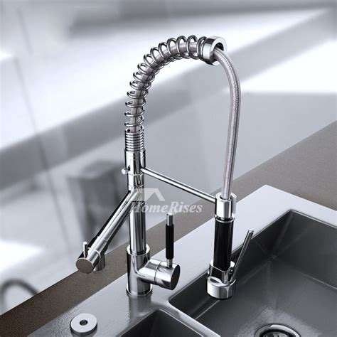 unique kitchen faucets pull  spray  handle silver