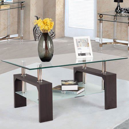 We have a variety of coffee tables to meet the specific requirements of your living room. Costway Rectangular Wood Tempered Glass Top Coffee Table w/ Storage Shelf | Walmart Canada