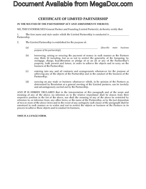 Certificate Template Alberta by Alberta Certificate Of Limited Partnership Forms
