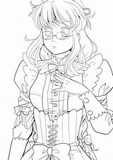 Lineart Maid sketch template