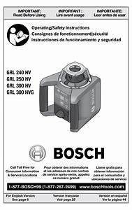 Bosch Grl 240 Hv Operating Instructions Manual Pdf