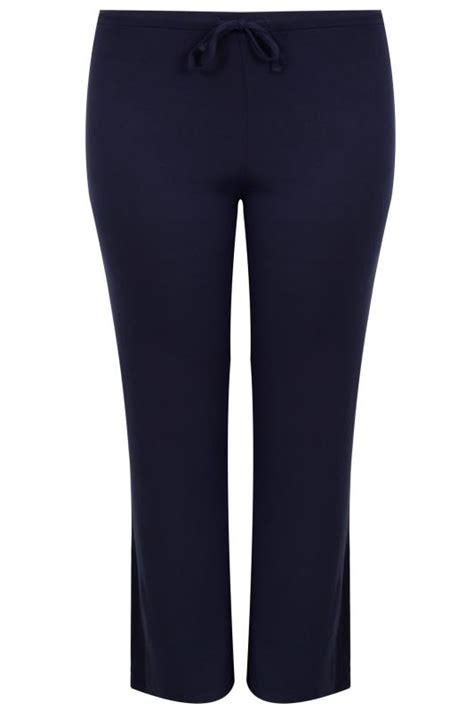 navy wide leg pull  stretch jersey yoga trousers