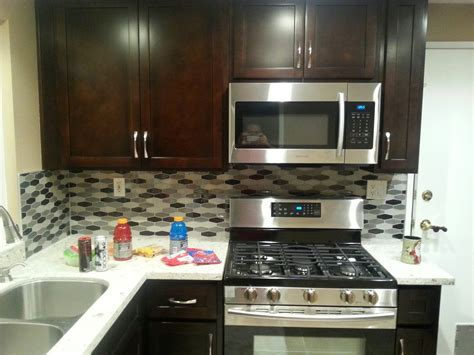kitchen espresso shaker cabinets quartz countertop in