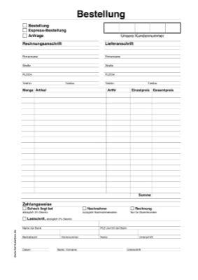 bestellung anfrage vorlagen und muster zum ausdrucken