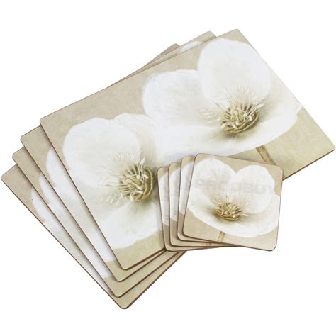 Dining Table Place Mats - set of 4 white helleborus floral dining table placemats