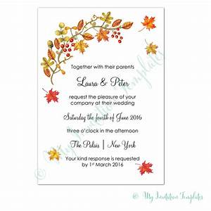 fall wedding invitation template With wedding invitation template a4