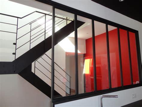 escalier acier bois et palier interm 233 diaire verre