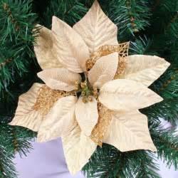 wholesale 10pcs lot 25cm gold artificial christmas flowers poinsettia christmas tree decoration