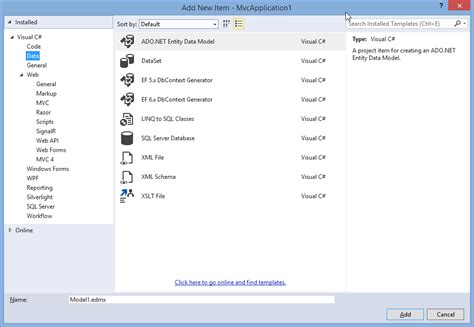 stick run 2 there is no ado net entity data model in visual studio