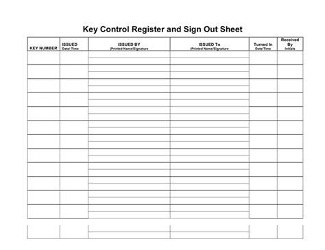 key control register  sign  sheet  word