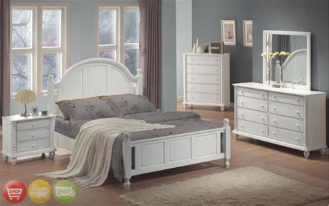 Full Bed White Wood Piece Bedroom Furniture Set New