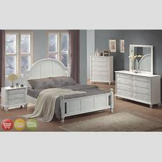 Full Bed White Wood 4 Piece Bedroom Furniture Set New
