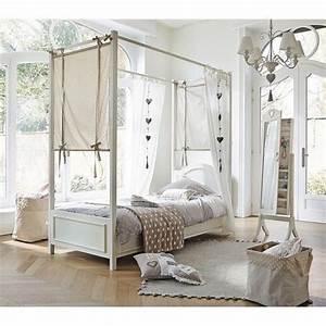 Lit A Baldaquin En Bois : lit baldaquin 90 x 190 cm en bois blanc manosque ~ Teatrodelosmanantiales.com Idées de Décoration