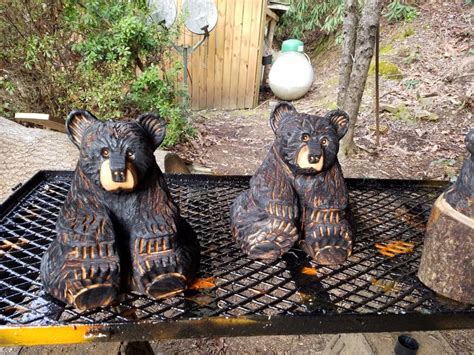 chainsaw carved sitting bear small   magic