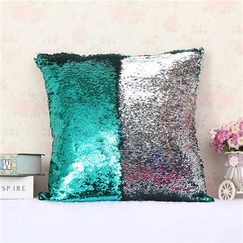 reversible sequin mermaid pillow reversible sequin mermaid sofa cushion cover sided 4840