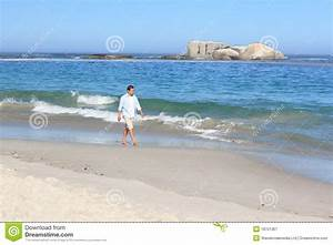 Man Walking On The Beach Royalty Free Stock Photography ...