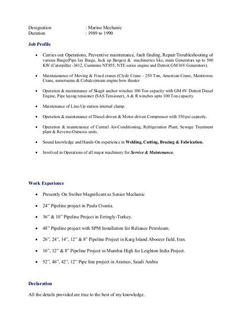 Marine Diesel Mechanic Resume by Senior Mechanic Original Cv