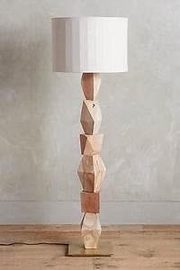 stacked woodblock floor lamp ensemble in neutral With wood block floor lamp
