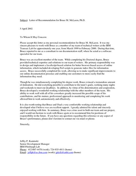 personal reference letter  recommendationletter
