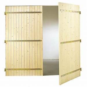 Porte de garage bois battante exterieur for Porte de garage enroulable avec bloc porte bois