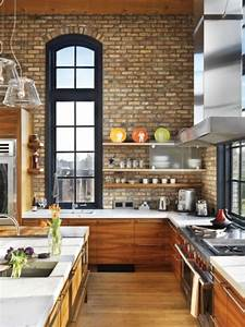 74 stylish kitchens with brick walls and ceilings digsdigs for Kitchen colors with white cabinets with rouleaux papier peint