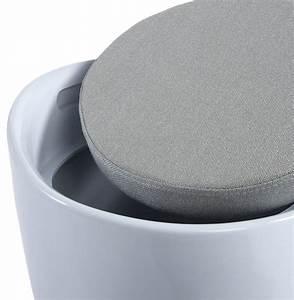 Tabouret Avec Rangement : tabouret pouf ese avec rangement blanc blanc ~ Teatrodelosmanantiales.com Idées de Décoration