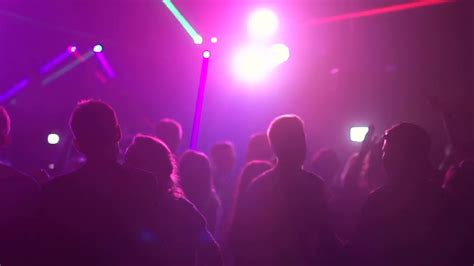 Crowd Of Young People Dancing In Night Club Slow Motion