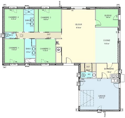 plan maison plain pied 4 chambres garage construction 86 fr gt plan maison plain pied de type 6