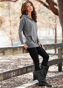 Heather grey banded hoodie black leggings and grey boots ...