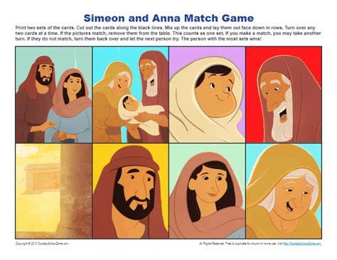 simeon  anna match game kids ministry printable