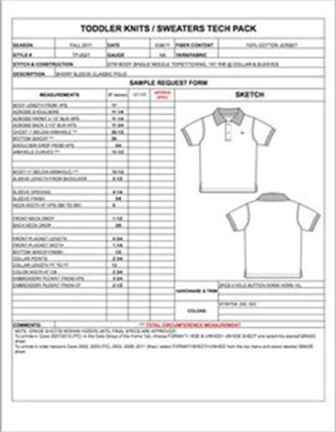 childrens spec sheet sample womens mens kids