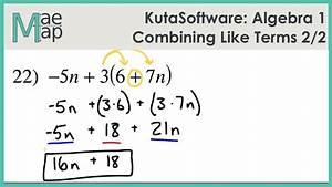 Algebra 1 Worksheet 2 1 Combining Like Terms Distributive