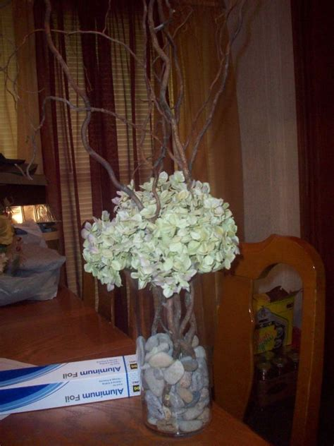 hydrangea and curly willow centerpieces weddingbee photo