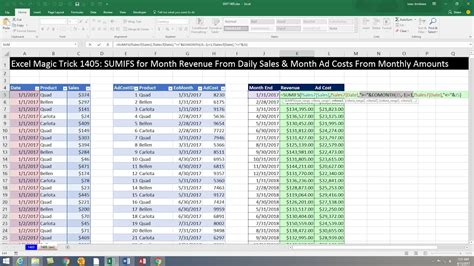 excel magic trick  monthly totals report sales
