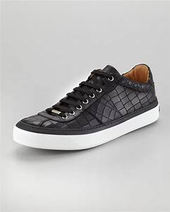 Jimmy choo Portman Crocodileembossed Sneakers Black in ...